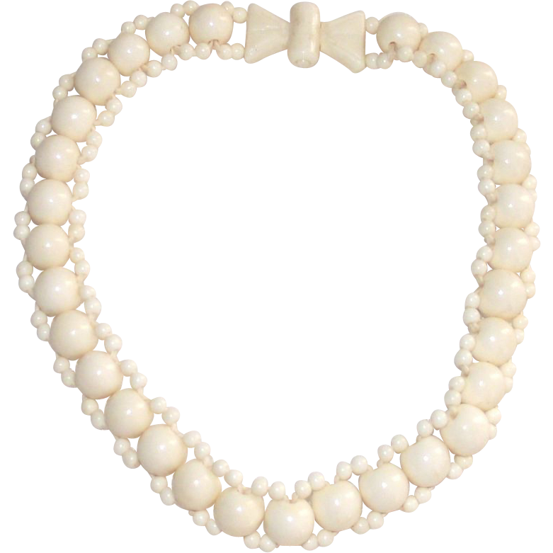 Mid Century Carved Cream Color Resin Bead Necklace - Choker Style
