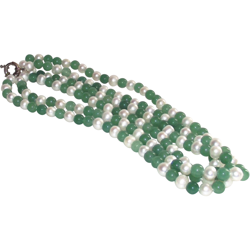 Vintage Baroque Freshwater Pearls and Green Nephrite Jade Bead Necklace