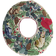 Vintage Needle Point Wreath Birds – Rabbits – Squirrels Hand Made