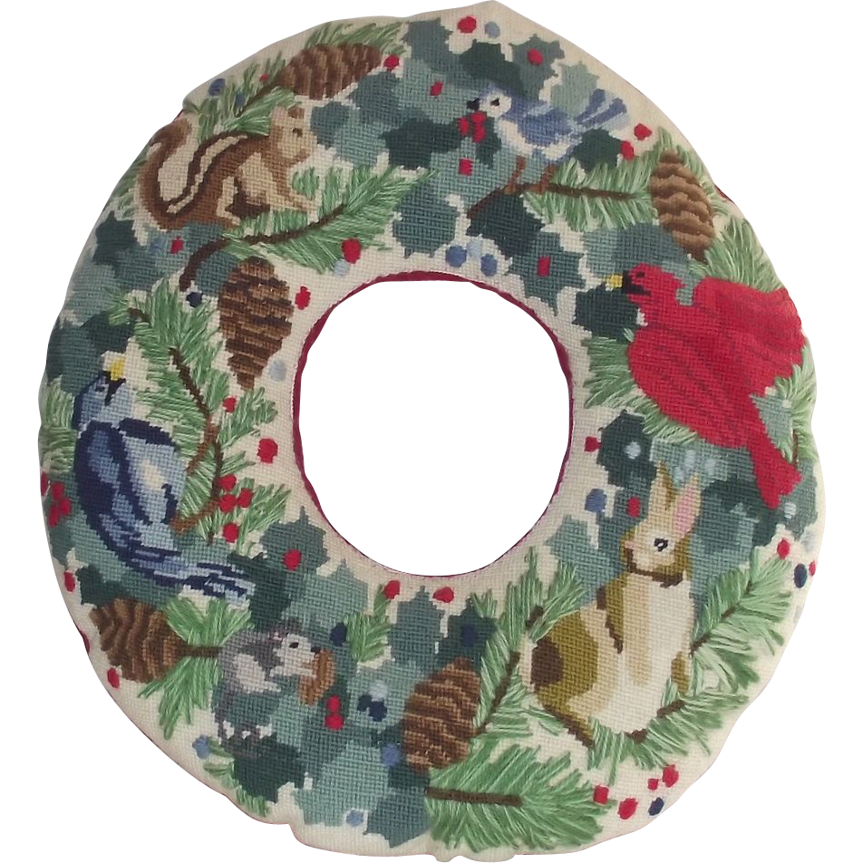 Needle Point Wreath Birds – Rabbits – Squirrels Hand Made