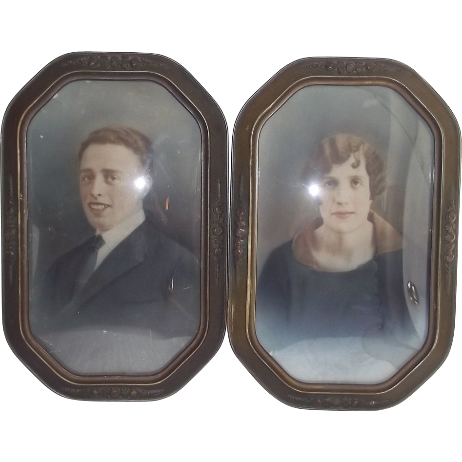 Circa 1915 Matched Pair Barbola Style Frames - Princess Cut - Convex Glass