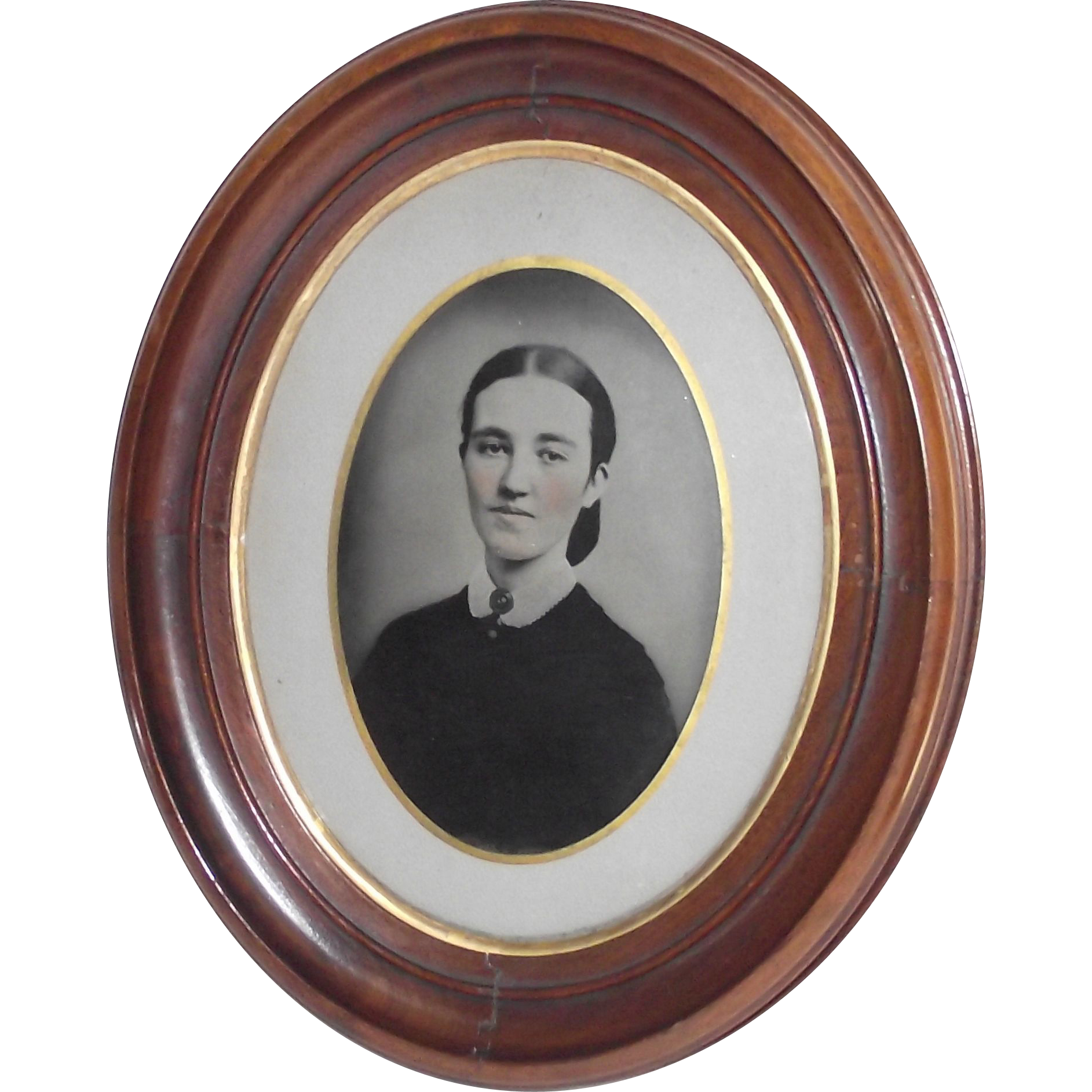 Circa 1850 Deep Oval Walnut Frame with Full Page Hand Tinted Tin Type