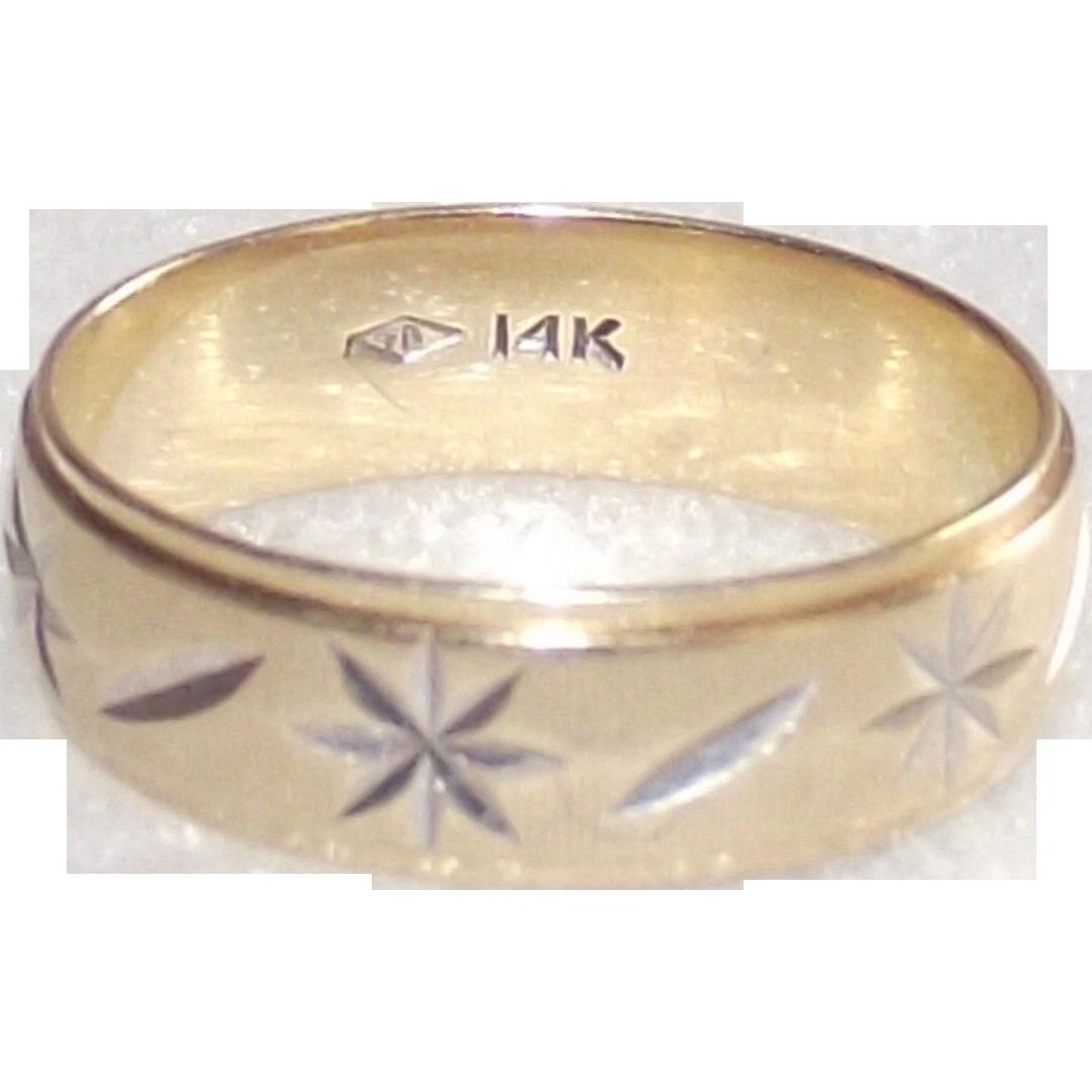 14 Kt Yellow Gold Diamond Cut Wide Wedding Band