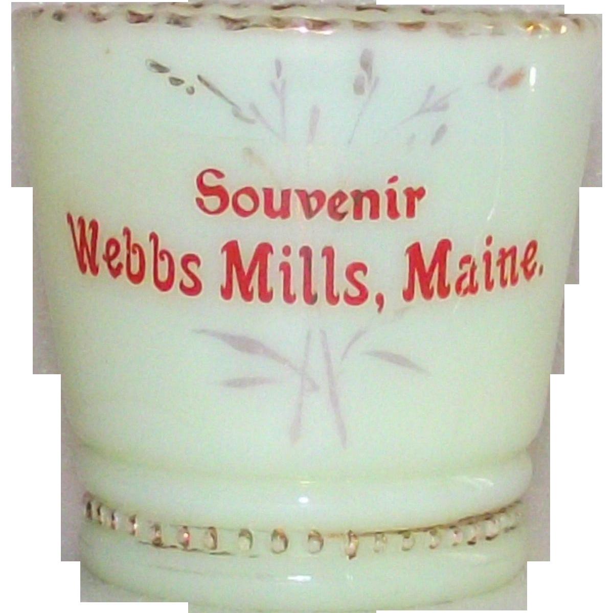 Victorian Custard Glass Toothpick Holder Souvenir Webbs Mills, Maine