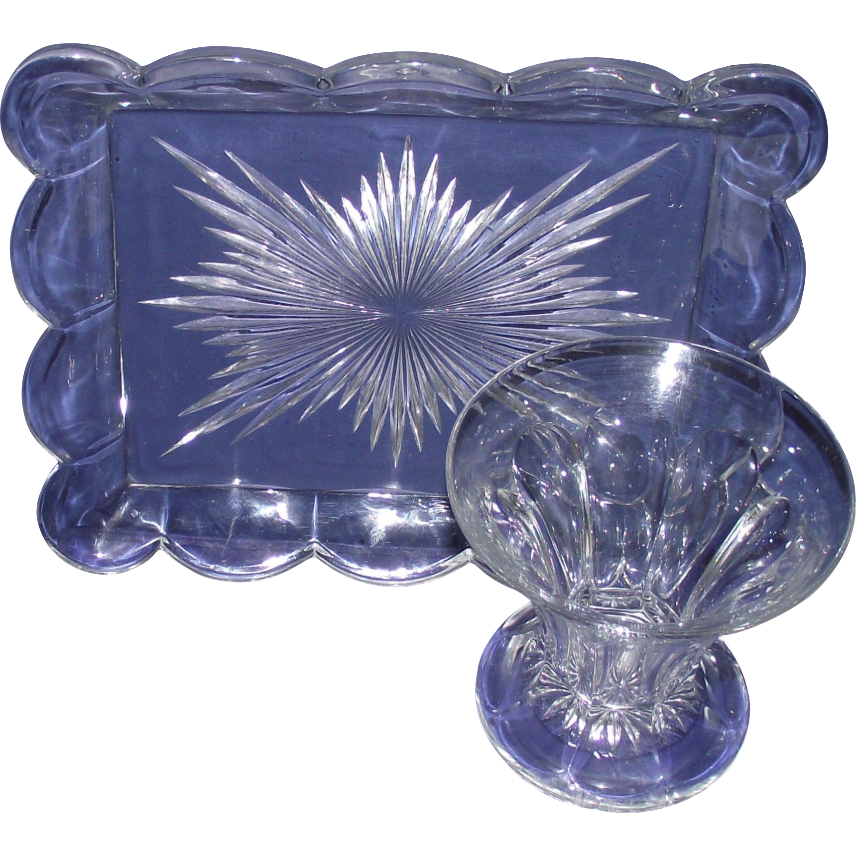 Clear Cut Glass Pin Tray & Matching Clear Tulip Shaped Vase
