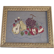 Victorian Gold Gilt Frame with Fruit Needlepoint