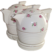 Mid Century Japanese Teapot and Coffee Pot on Original Stand Chintz Style Pattern