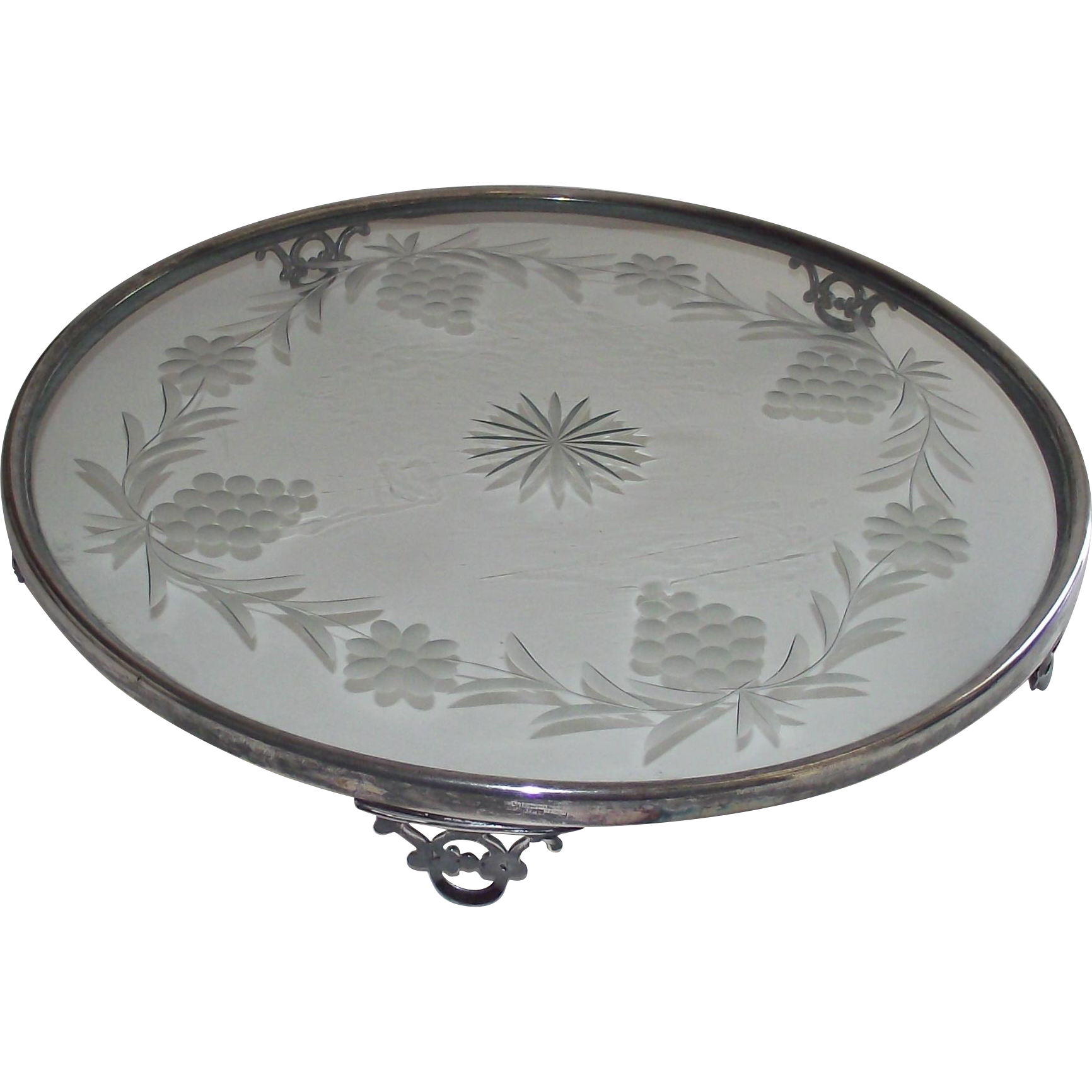 Art Deco Plateau  Toronto Silver Plate with Glass Center     Dining Room Center Piece