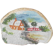 Fungus Art Small Painting Early Cape Home with Bridge Over the Brook