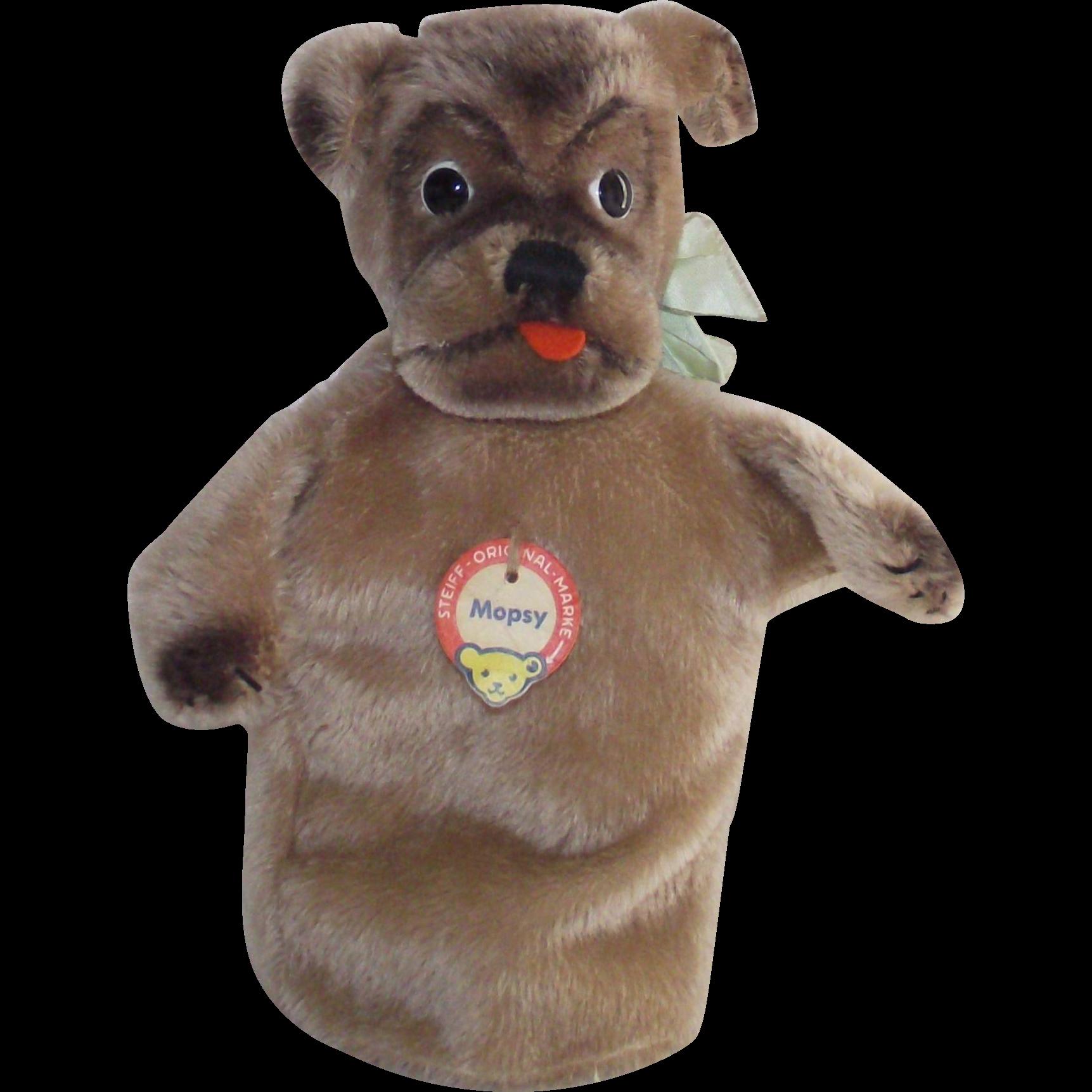 Steiff Mopsy Dog Mohair Plush Hand Glove Puppet