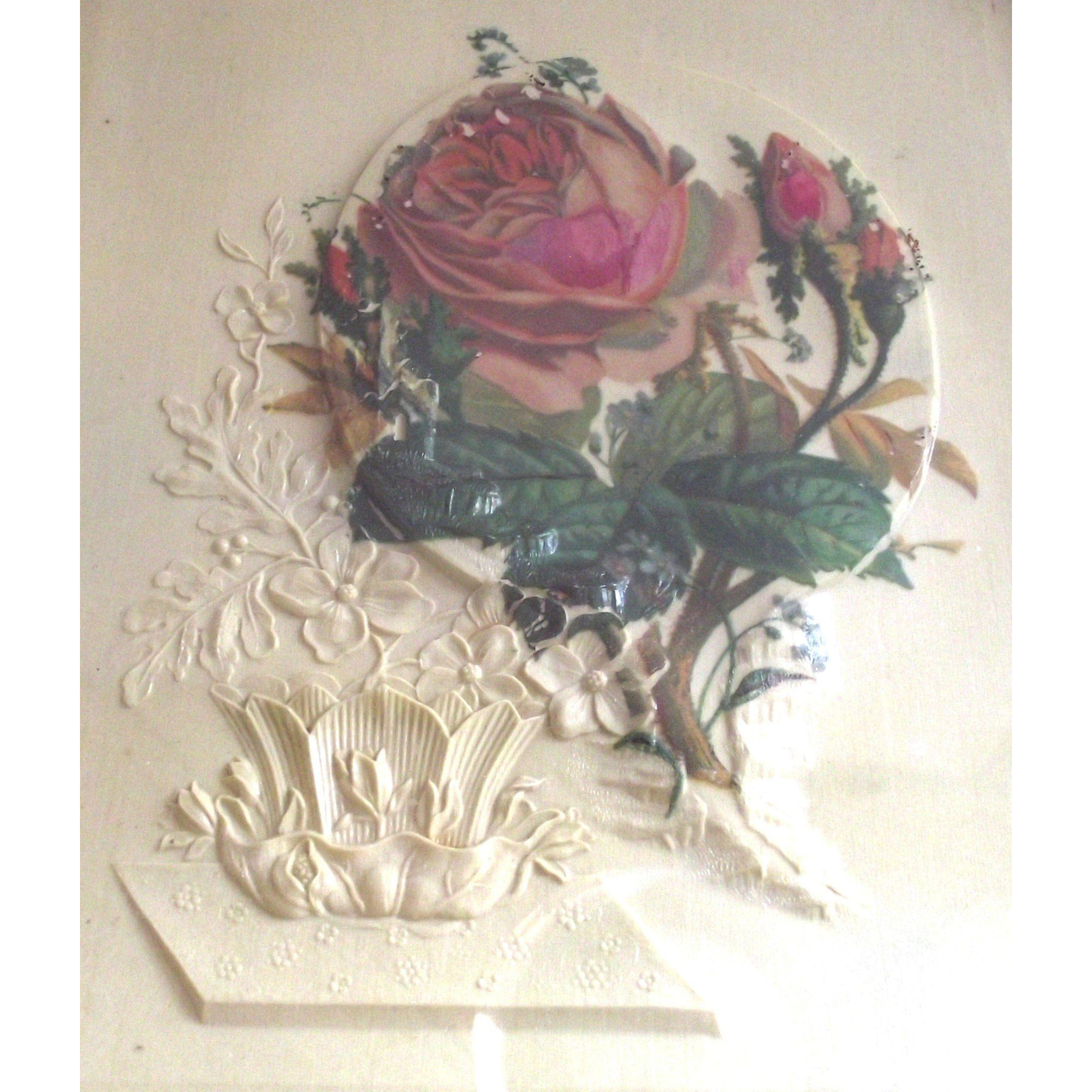 Vintage Victorian Moss Roses Painting on Embossed Celluloid