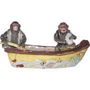 Vintage Majolica Two Monkeys in a Boat Fishing
