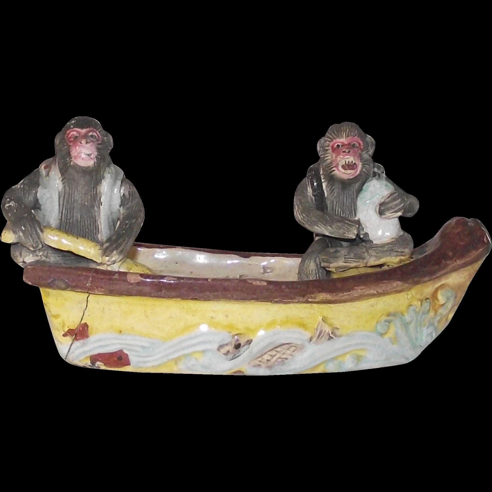 Vintage Majolica Two Monkeys in a Boat Fishing