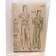 Du Barry  1940 Sz.16 Ladies 2 piece Pajamas Pattern