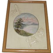 Vintage Scenic Painting on Embossed Celluloid Framed in Faux Bamboo Frame