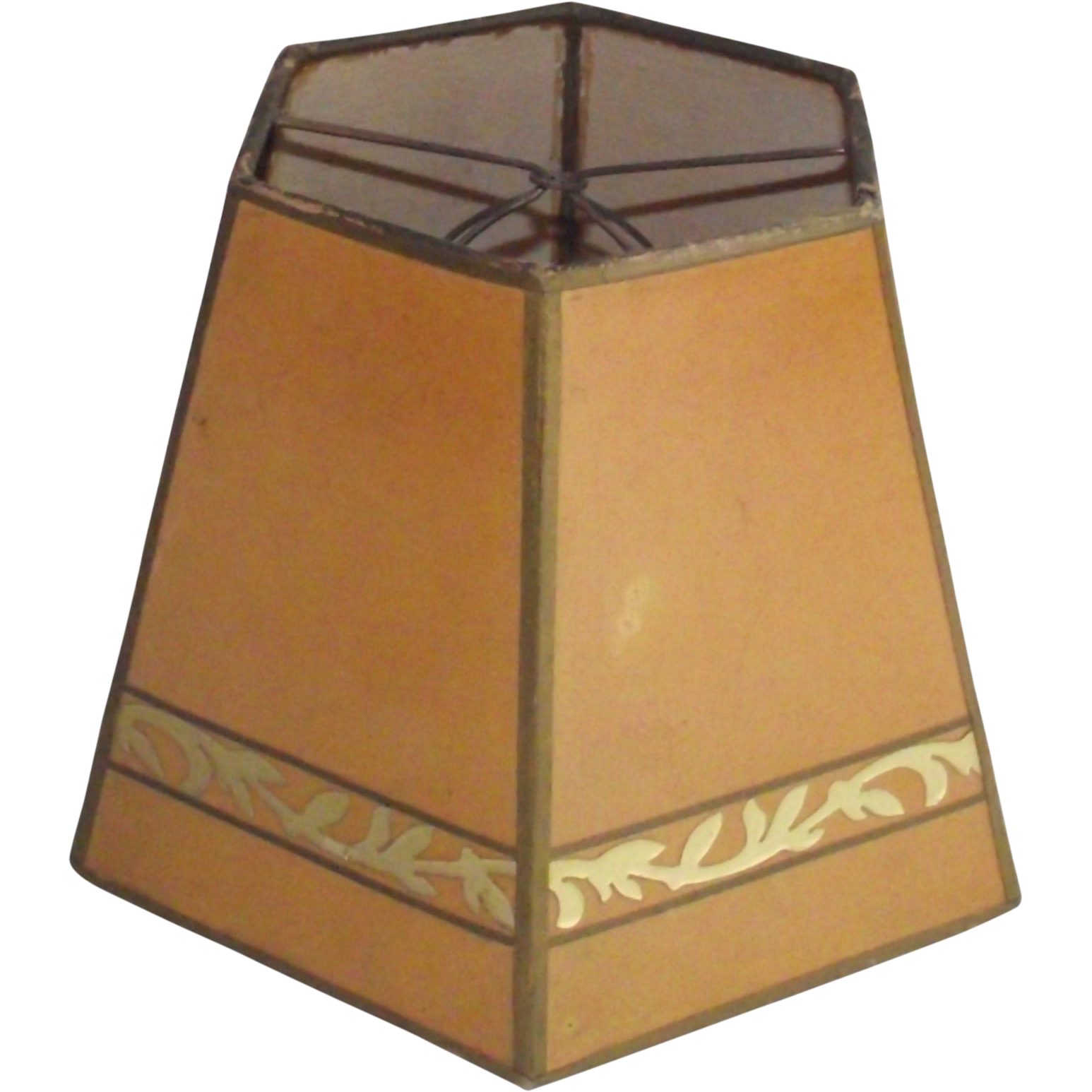 Vintage Parchment Shade with Gold Leaf Decoration for Small Table Lamp