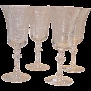 "Tiffin Fuchsia Water Goblets 7½"" 4 Pcs. #716160"