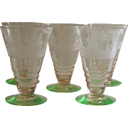 Vintage Cambridge Imperial Hunt Pink and Green 5 Piece Footed Tumbler's RARE
