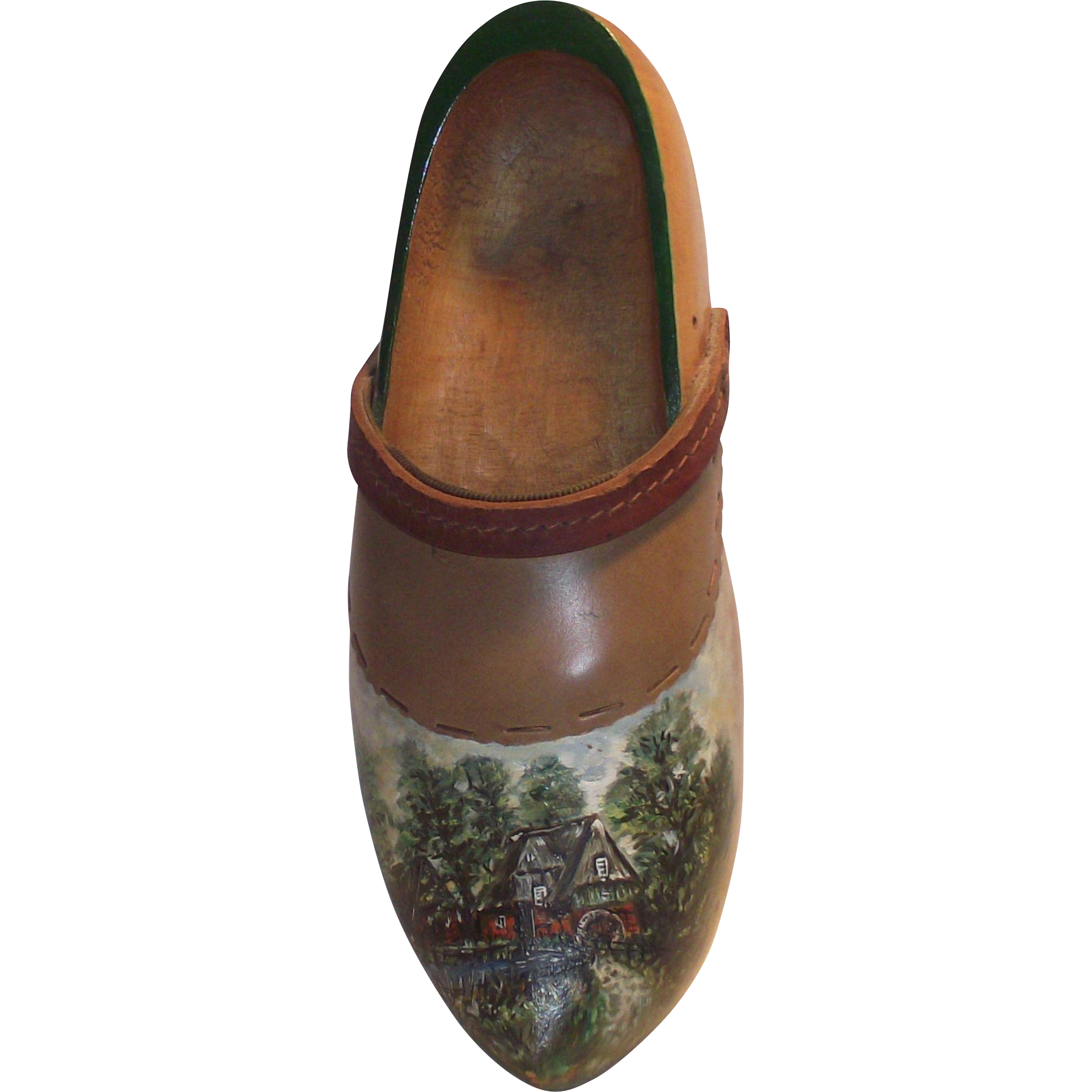 Vintage Dutch Wooden Shoe Hand Painted Adult  with  Water Mill