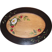 Vintage Tole Painted Strawberries Large Wooden Tray