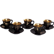 Vintage Japanese Lacquerware Demi Tasse Cups and Saucers 5 Sets Mid-Century