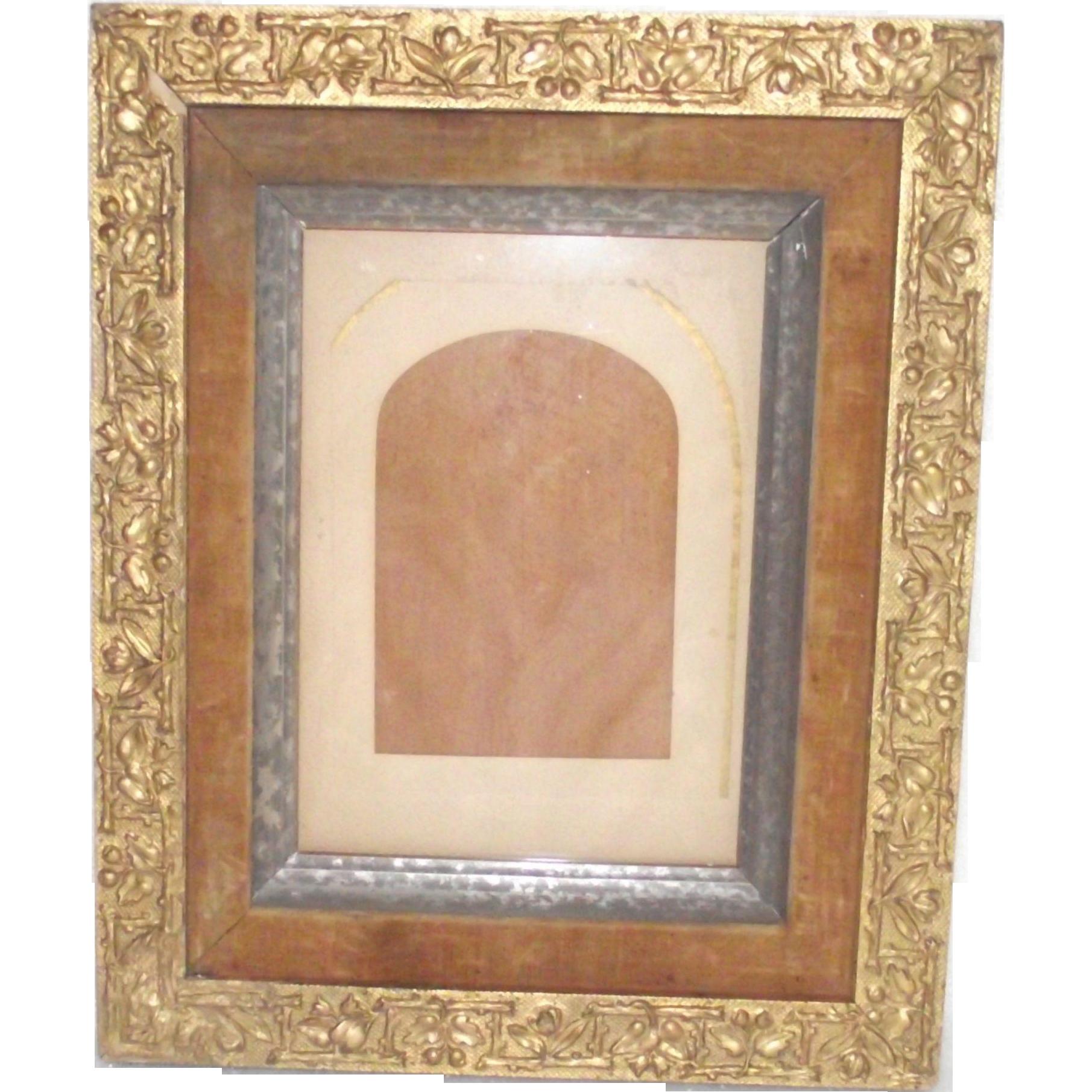 Victorian Gesso Gilt Frame With Velvet Liner Silvered Inner Frame