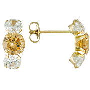 3.5 ctw Round Champagne & White CZ's 10k Yellow Gold Earrings