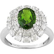 Vintage Chrome Diopside  2.20ct Oval  With .50ctw Round White Zircon Sterling Silver Cocktail Style Ring