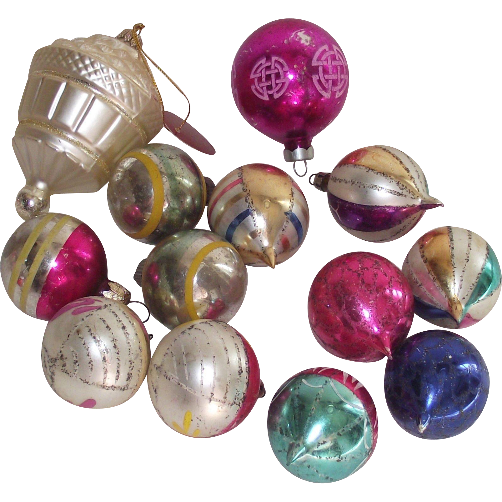 Vintage Mid Century 12 Piece Glass Christmas Tree Ornaments Tear Drops Rounds with Stripes Street Light Shape