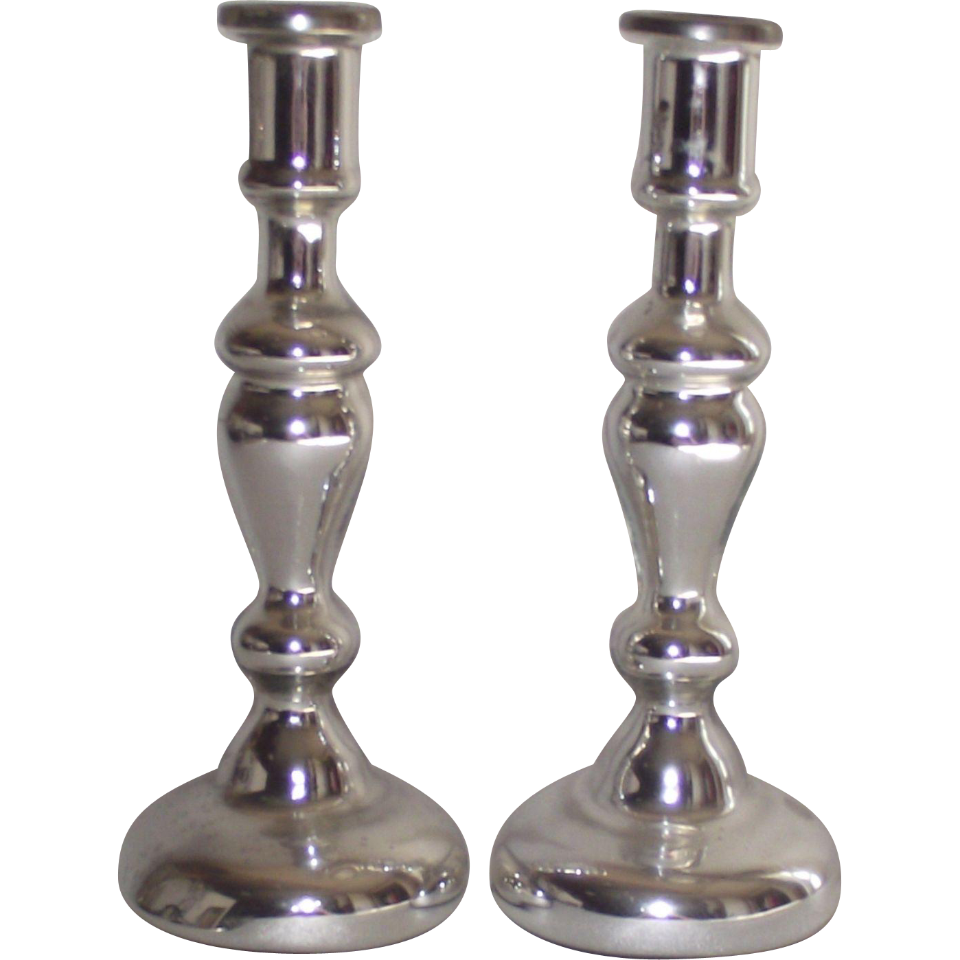 Mid century mercury glass tall candle holders sold on ruby for Tall candle vases