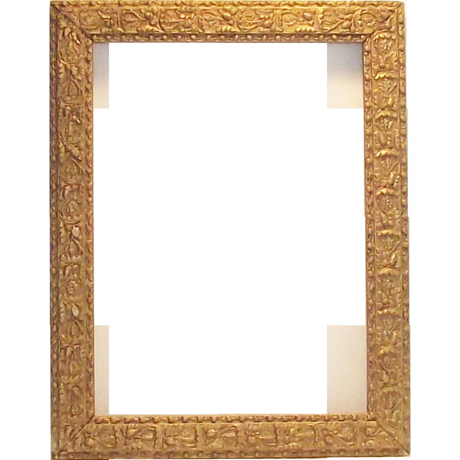 "Victorian Era Gesso Gilt Frame Acorns and Oak Leaves 16"" x 12.5 ..."