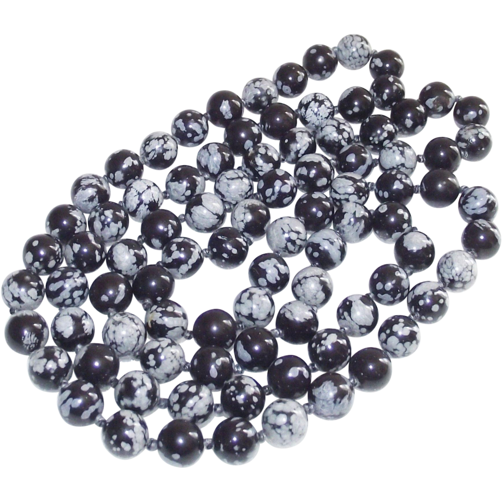 Vintage Black and Gray Dragon Agate Beads 31 Inches Long