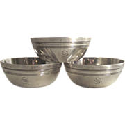 Three Matching Sterling Salt Cellars – Early American Pattern