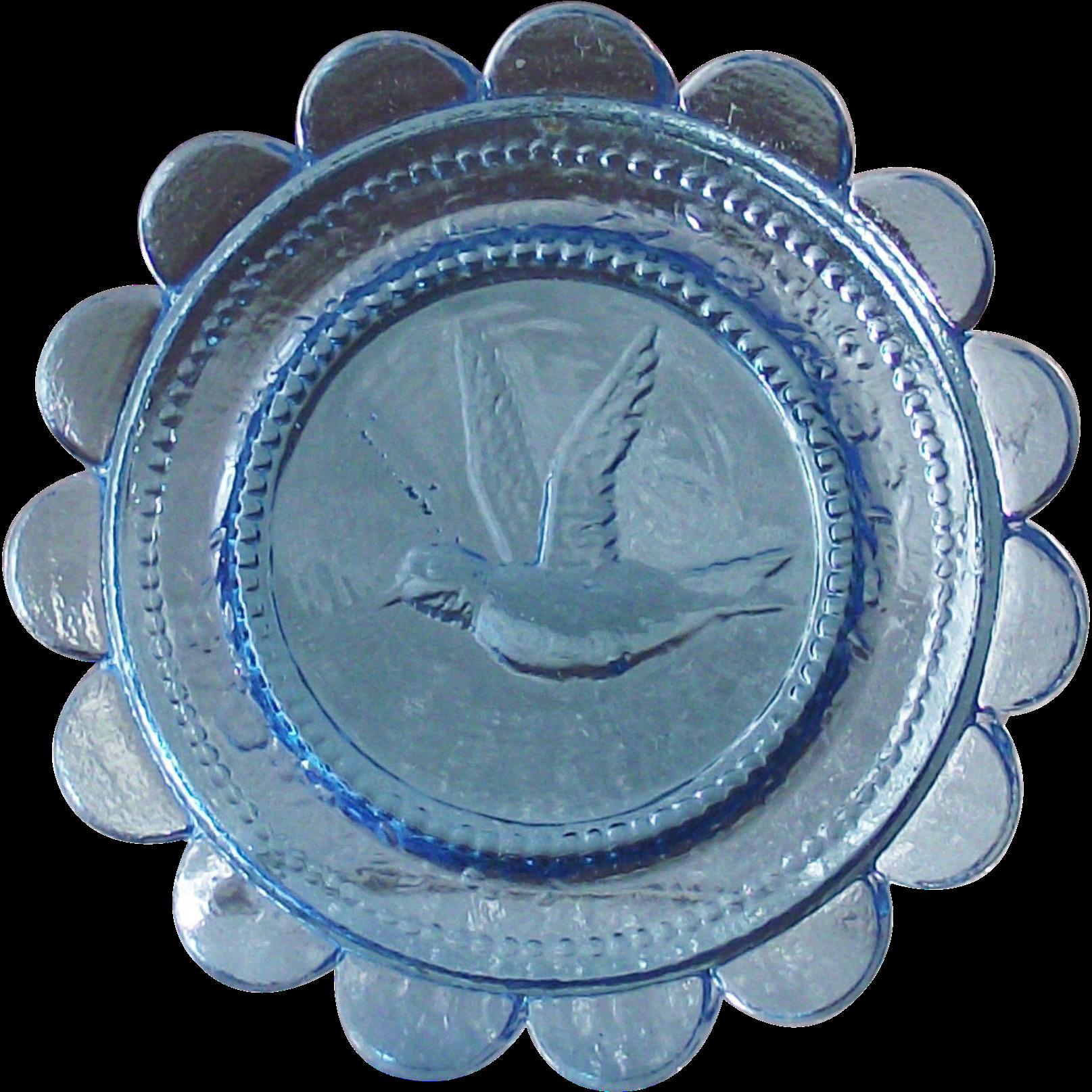 Vintage Azure Blue Sandwich Glass Cup Plate with Bird in Flight