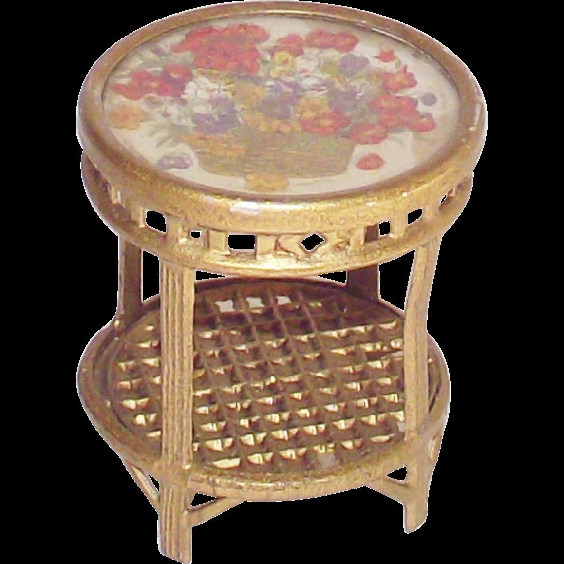 Vintage Doll House Gilt Metal Side Table  Glass Top Garden Table