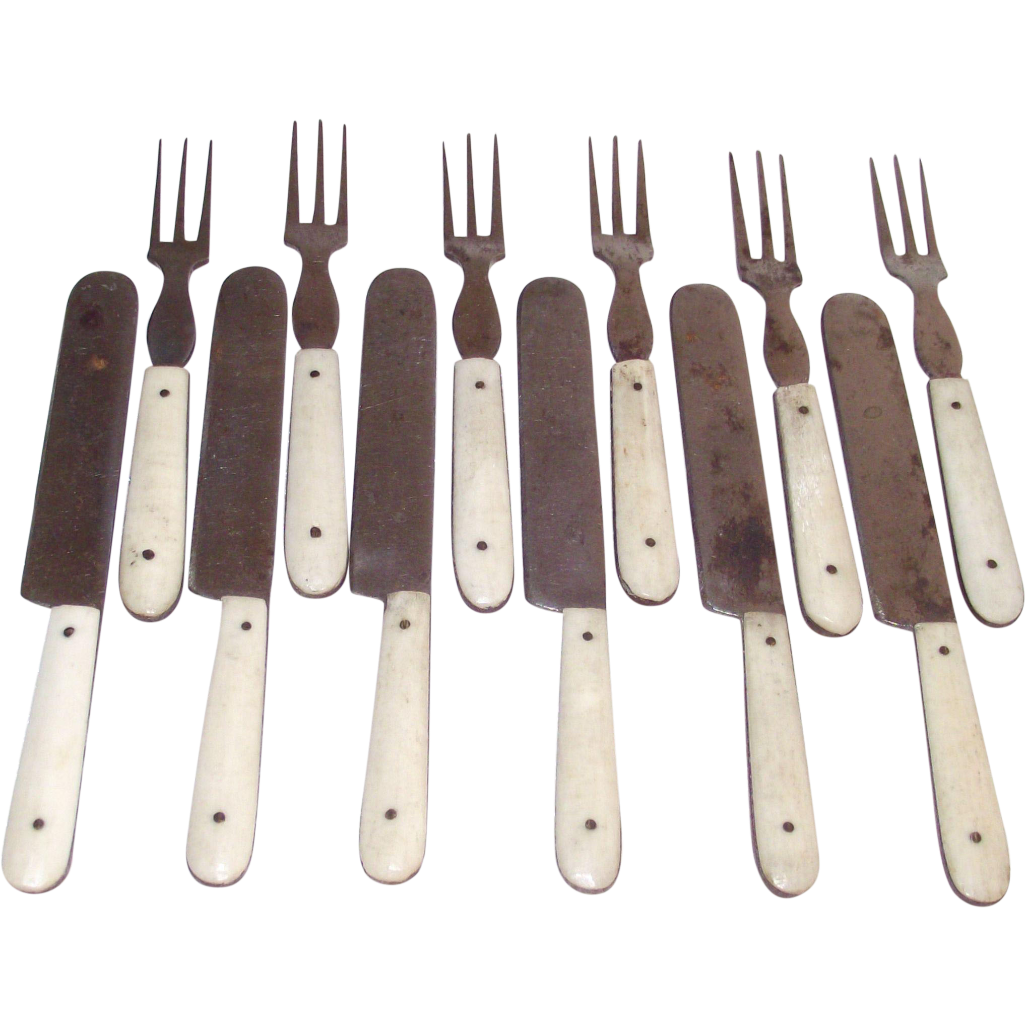 Children's Bone Handled Toy Flatware 12 Piece Set Forks and Knives