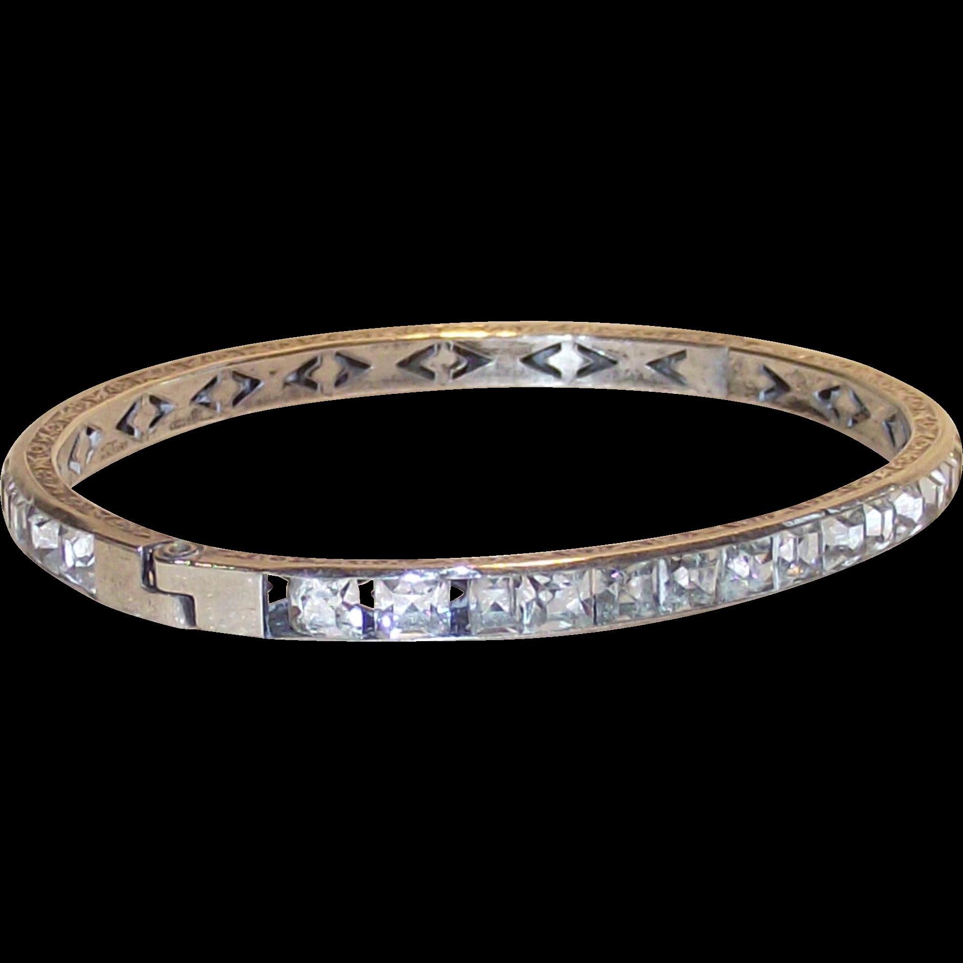 Vintage Art Deco Sterling Bangle Bracelet Clear Crystal Channel Set Stones  1920's