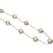 Vintage Gold Tone Chain Necklace with Large Faux Baroque Pearl Stations