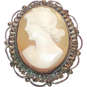 Vintage Cameo Brooch with Silver Wire Work Bezel