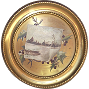 Victorian Hand Painted Winter Scene Cottage with Woods and Pond Brass Flue Cover