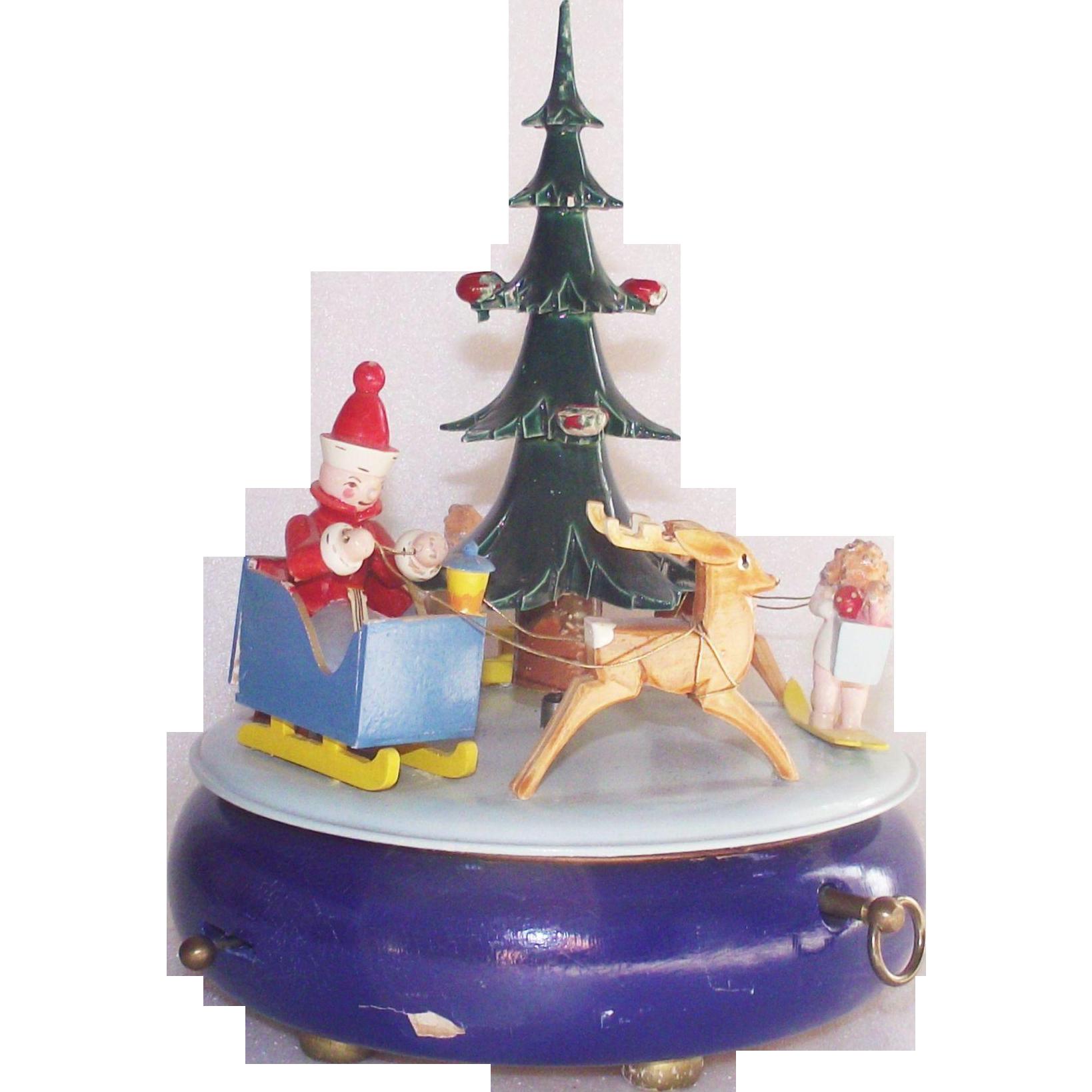 Vintage Steinbach Musical Christmas Tree Swiss Music Box Volkskunst Germany