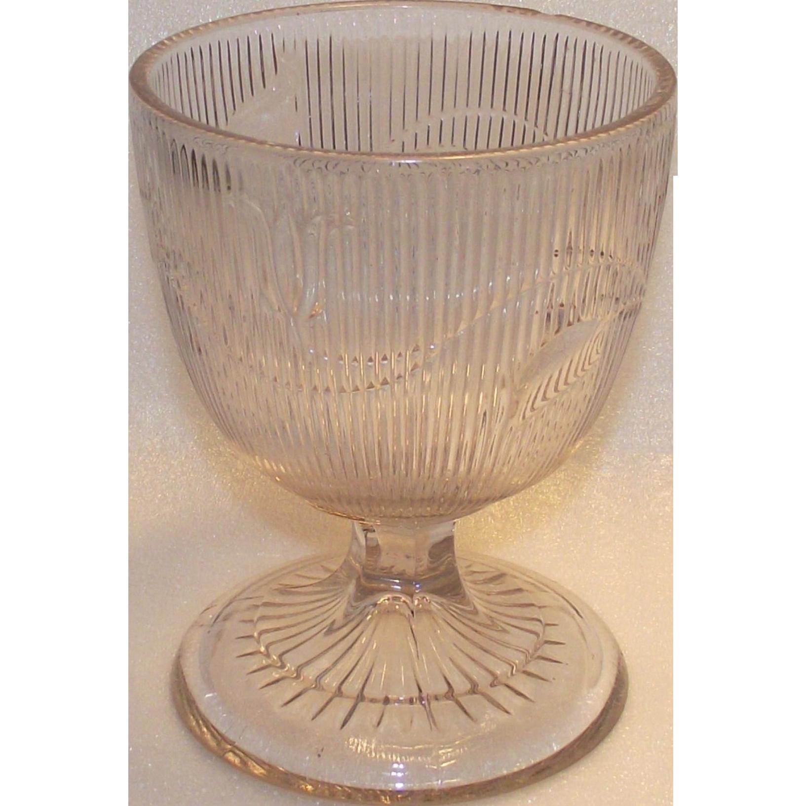 Victorian Boston and Sandwich Co  1840s Flint Glass Bellflower Large Open Sugar or Butter Milk  EAPG