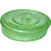 Vintage Green Depression Glass Refrigerator Dish Covered