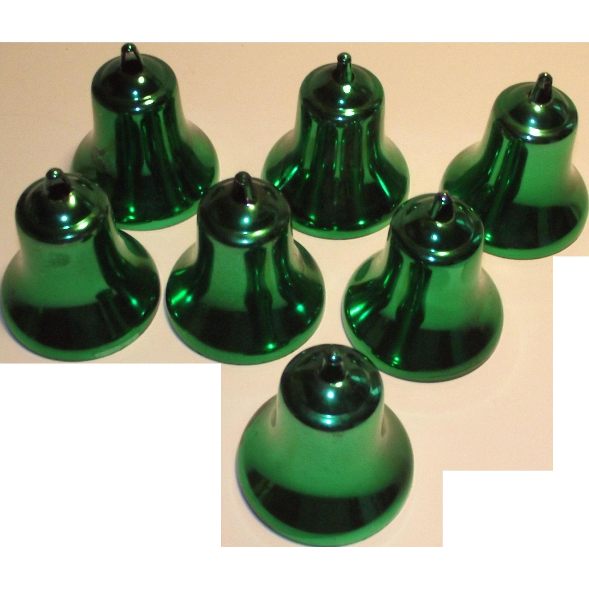 Vintage Mid Century Green Christmas Bell Ornaments 1960s Hard Plastic