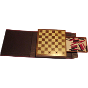 Vintage Drueke Travel Checkerboard with Pegs Leather Look Book