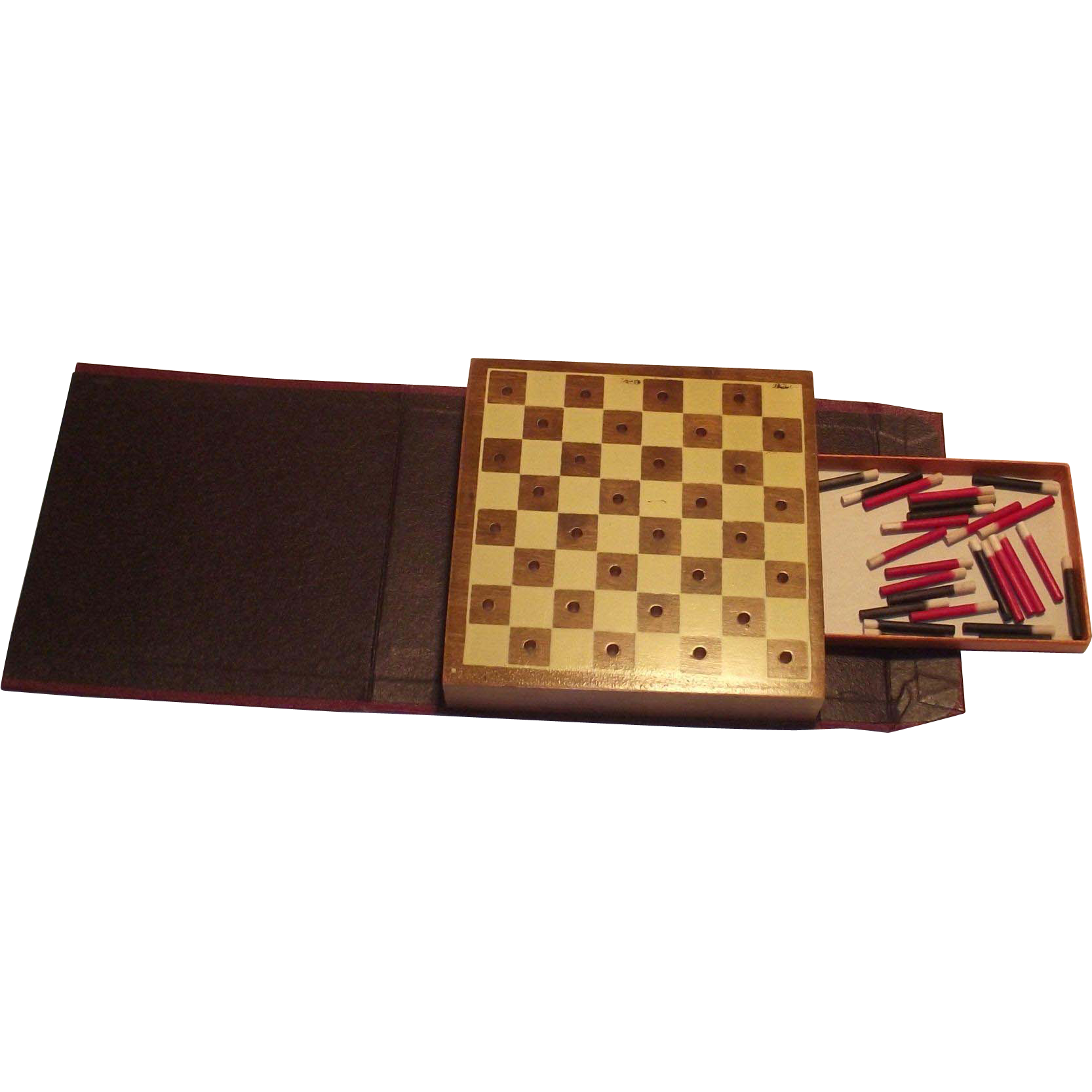 Vintage Drueke Travel Checkerboard with Pegs Leather Look Book