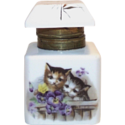 Vintage Porcelain Ink Well with 2 Hand Painted Kittens