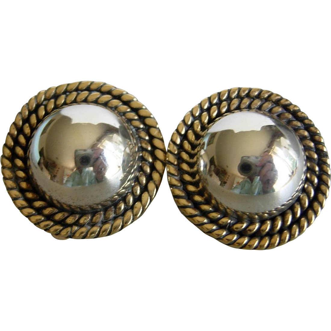 Vintage Clip Style Earrings Sterling Silver Button with Gold Rope Detail Mexico