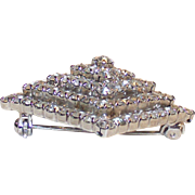 Vintage Art Deco Pyramid Shape Clear Rhinestone Brooch