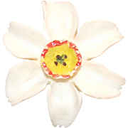 Vintage Daffodil Brooch Hard Plastic Single Bloom  Narcissus  Jonquil
